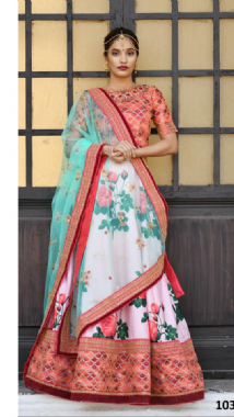 Light Pink Floral Lehenga